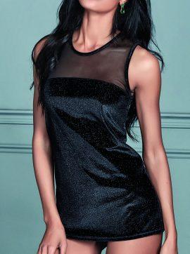 Damentop-schwarz-silber